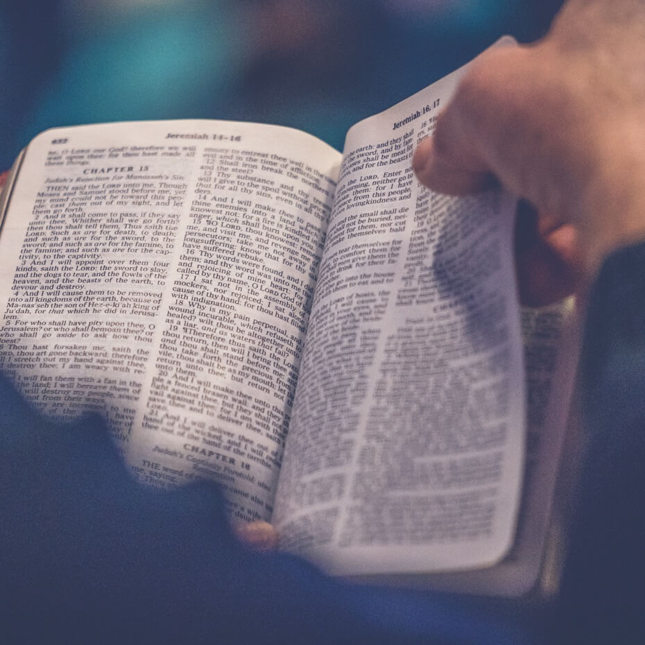 A bible opened to the book of Jeremiah