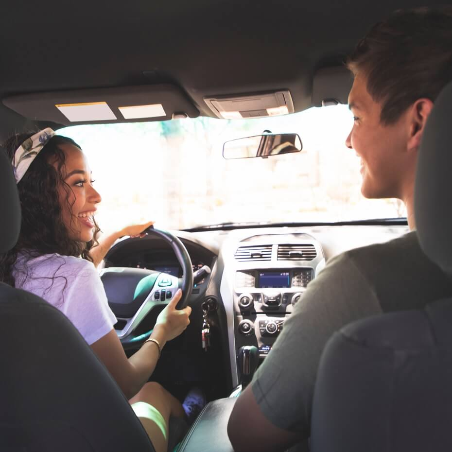 A ride-share driver and passenger chat