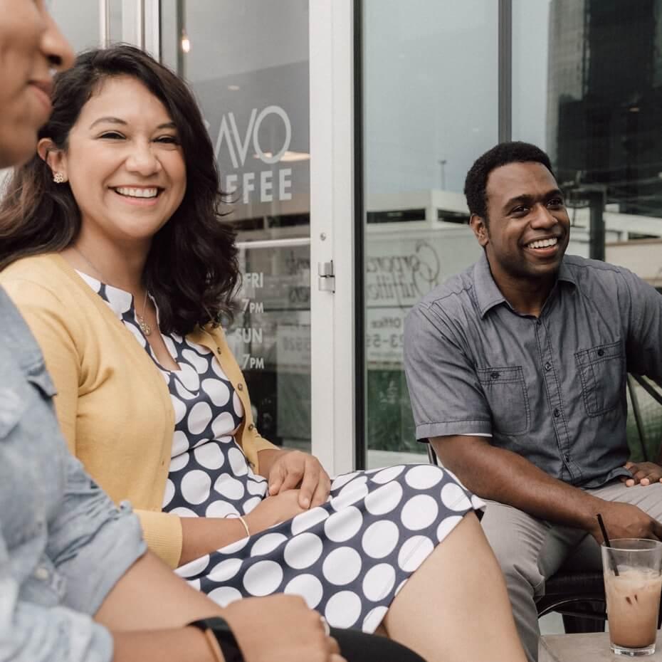 A Lakewood LifeGroup meets outside on a patio