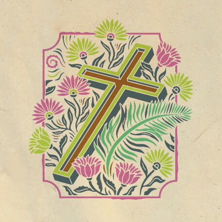 A Cross Laying in Drawn Plants and Flowers