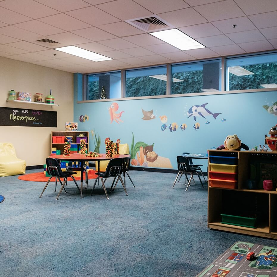 The classroom for 3 year olds set and organized for a day of learning and play.
