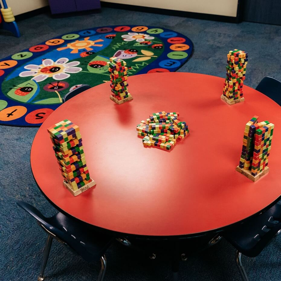 An interactive activity set up for the day.