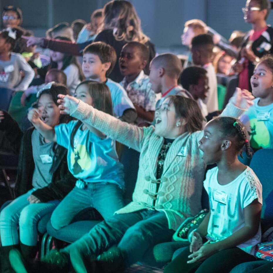 Kids enjoying an interactive experience.