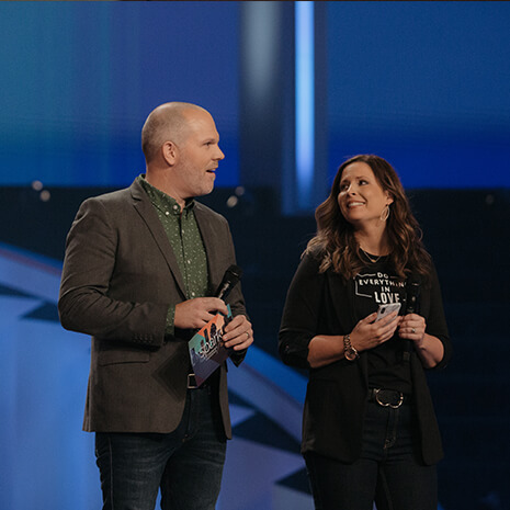 Pastors Clayton and Ashlee Hurst speaking at the Spark Marriage Conference at Lakewood Church