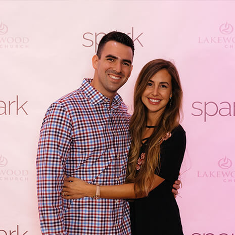 A couple at the Spark Marriage Conference at Lakewood Church